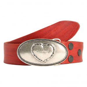 Wechselgürtel Ledergürtel mit Wechselschnalle Wechselschließe Herz oval