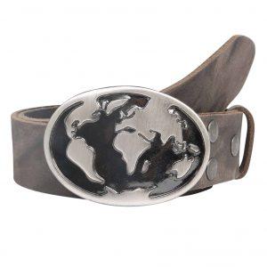 Wechselgürtel Ledergürtel mit Wechselschnalle Wechselschließe Welt silber schwarz