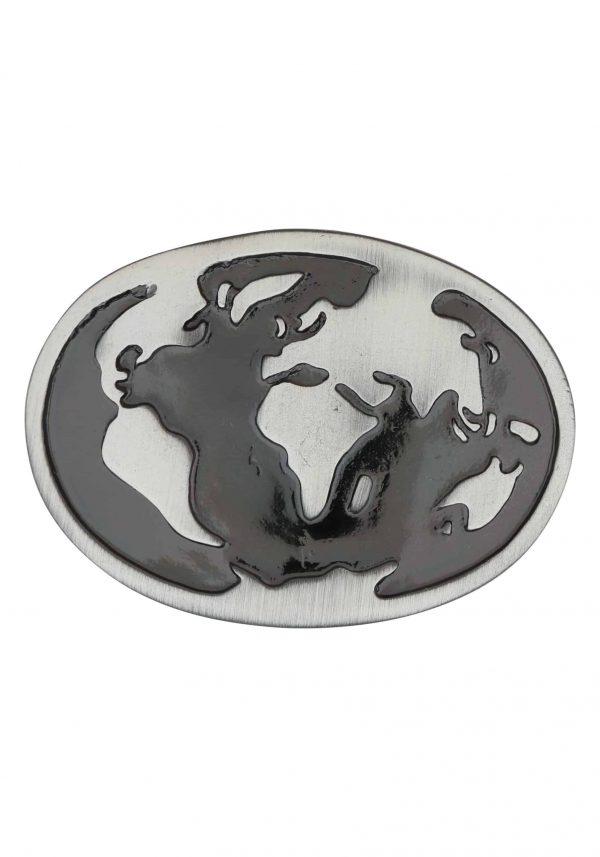 Unsere Gürtelschließen Gürtelschnallen: WechselSchließe Wechselschnalle Wechselschließe Welt schwarz silber