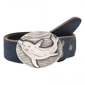 Wechselgürtel Ledergürtel mit Wechselschnalle Wechselschließe Delfin oval
