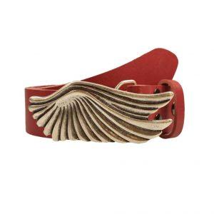 Wechselgürtel rot 4cm Ledergürtel rot 4cm Flügel Schließe
